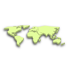 Green 3d map of world with dropped shadow on vector