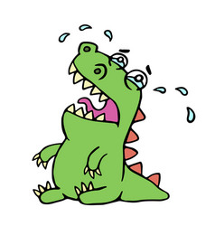 Cartoon crying dinosaur vector