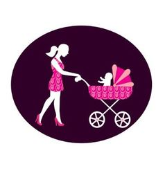 Woman with a stroller vector