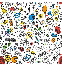 seamless hand drawn doodle pattern back to school vector image