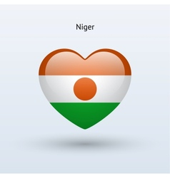 Love niger symbol heart flag icon vector