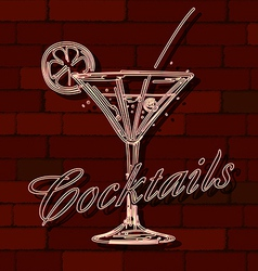 Cocktails neon sign vector image