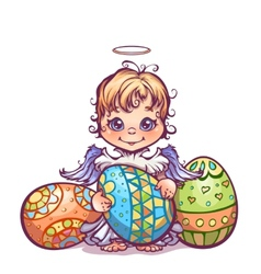 Cute angel ant set easter vector