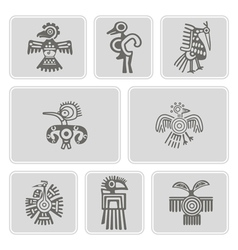 monochrome icons with American Indians relics vector image
