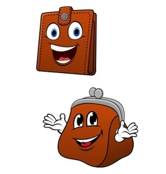 Brown leather wallet and purse characters vector