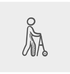 Disabled person with walking sketch icon vector
