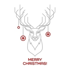 Christmas deer line art vector