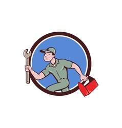 Mechanic spanner toolbox running circle cartoon vector