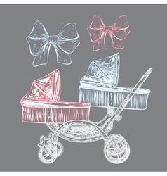 Hand drawn baby carriage vector