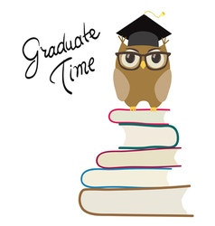 Owl with eyeglasses and graduation vector