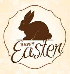 Easter greeting card with rabbit in vintage style vector