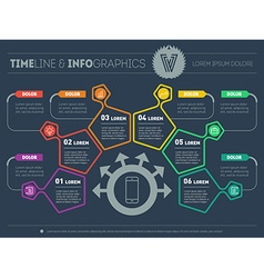 Business plan with six steps Infographic with vector image