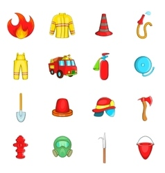 Fireman icons set cartoon style vector