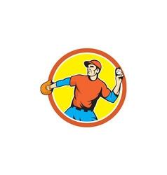 Baseball pitcher outfielder throwing ball cartoon vector