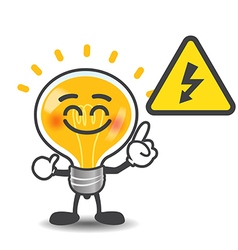 Bulb lamp cartoon pointing to electric power volt vector image vector image