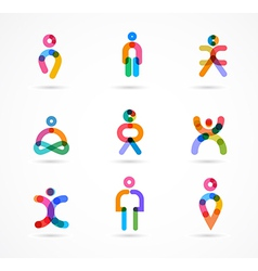 Collection of colorful abstract people vector image vector image