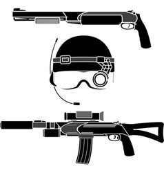 combat helmet and weapons vector image vector image