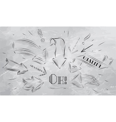 Composition of arrows pointing to the Ok charcoal vector image vector image