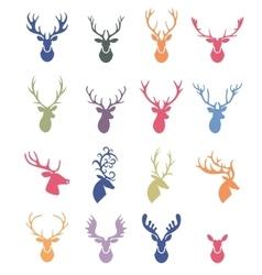 Deer horns label set vector image vector image