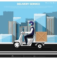 Deliveryman rides on motor scooter vector