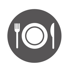 dish with fork and knife isolated icon vector image vector image