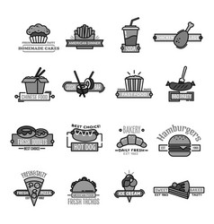 fast food icons of sushi seafood and bakery vector image vector image