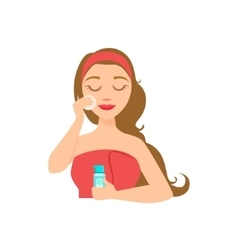 Girl removing make up with skincare product and vector