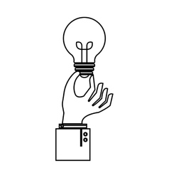 Hand with bulb light education icon vector