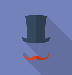 Hat and moustaches Flat style icon vector image vector image