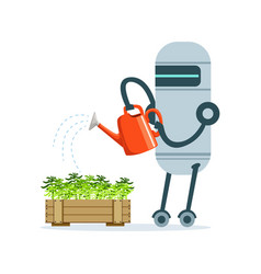 Housemaid robot character with watering can vector