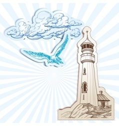 Lighthouse and sky background vector