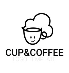 Line drawing of cup of coffee with smile vector