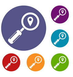 magnifying glass and location icons set vector image