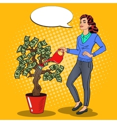 Pop art smiling rich woman watering money tree vector