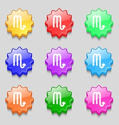 Scorpio icon sign symbol on nine wavy colourful vector image