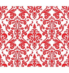 Seamless elegant damask pattern red and white vector