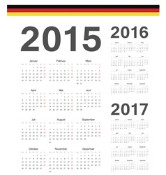 Set of German 2015 2016 2017 year calendars vector image vector image
