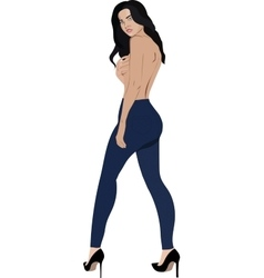 Topless girl wearing jeans skinny trousers vector image