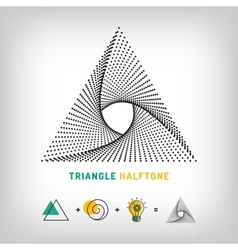Triangle logo 3d abstract halftone vector
