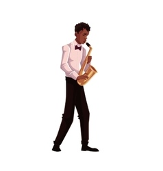 Young african american male saxophone player vector