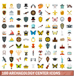 100 archaeology center icons set flat style vector