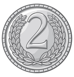 Second place medal with laurel wreath vector
