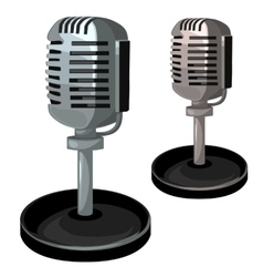 Professional metal microphone on stand vector