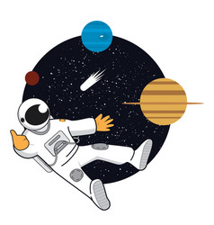 Space banner with astonaut neptune saturn vector