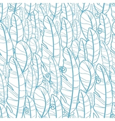 Blue drawn feathers seamless pattern background vector image