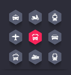 Passenger transport icons public transportation vector