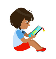Girl sitting reading and electronic book part of vector