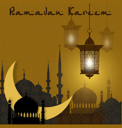 Ramadan kareem greeting card stylized drawing of vector