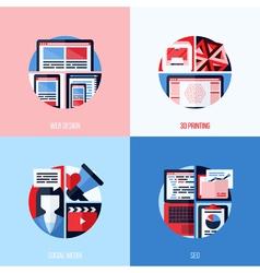 Icons of web design 3d printing social media seo vector