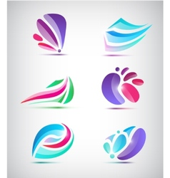 Set of abstract floral icons vector